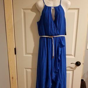A. Bayer Royal Blue Belted Dress